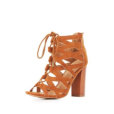 Bamboo Caged Lace-Up Booties