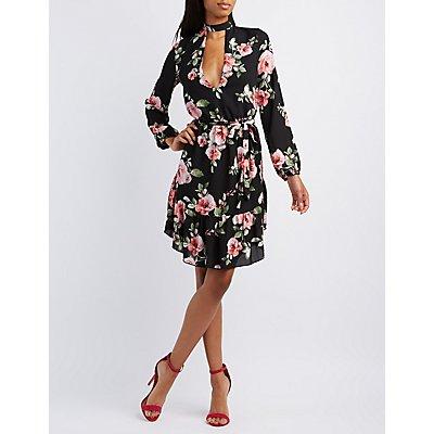 Floral Cut-Out Mock Neck Dress