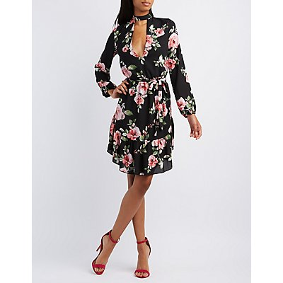 Floral Cut-Out Mock Neck Dress