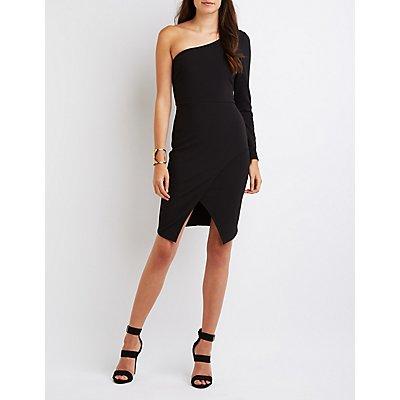 Textured One-Shoulder Bodycon Dress