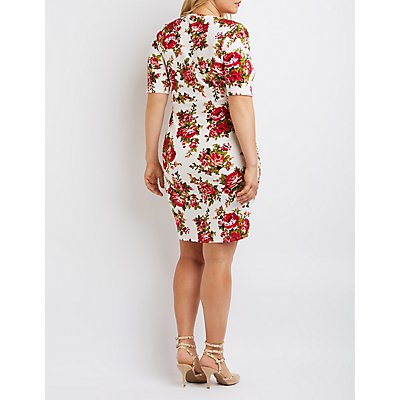 Plus Size Floral Notched Bodycon Dress