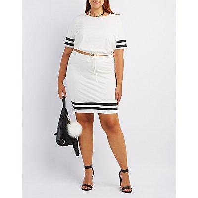 Plus Size Crop Top & Skirt Hook-Up