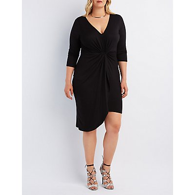 Plus Size Knotted Asymmetrical Dress