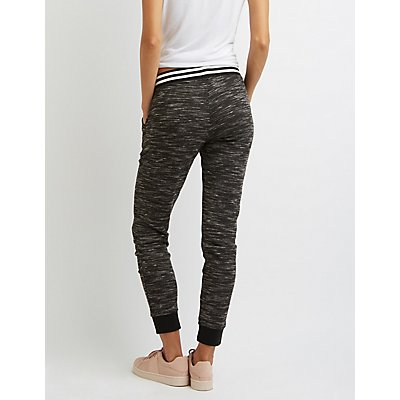 Marled Striped Band Jogger Pants