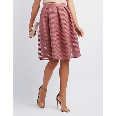 Shadow Stripe Full Midi Skirt