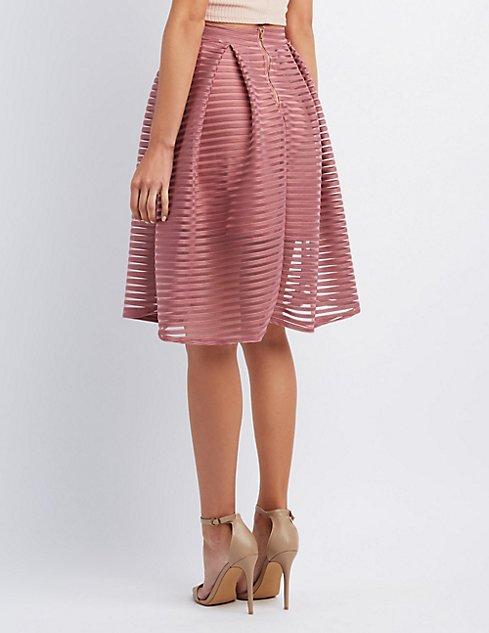 Shadow Stripe Full Midi Skirt | Charlotte Russe
