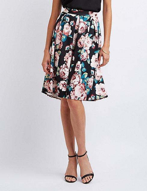 Floral Pleated Midi Skirt | Charlotte Russe