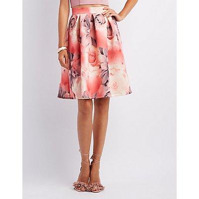 Floral Pleated Full Midi Skirt