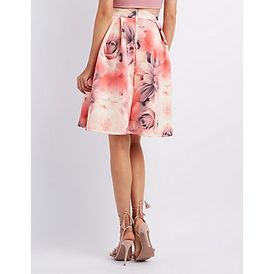 Floral Pleated Full Midi Skirt
