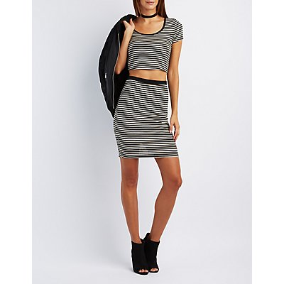Striped Caged-Back Crop Top