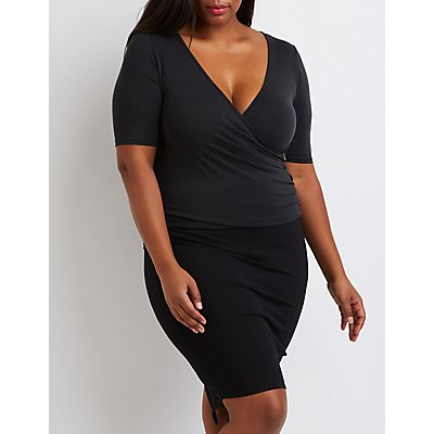 Plus Size Wrapped Surplice Top