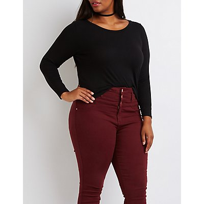 Plus Size Ribbed Skimmer Tee