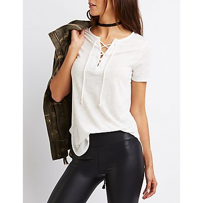Lace-Up Split Neck Tee