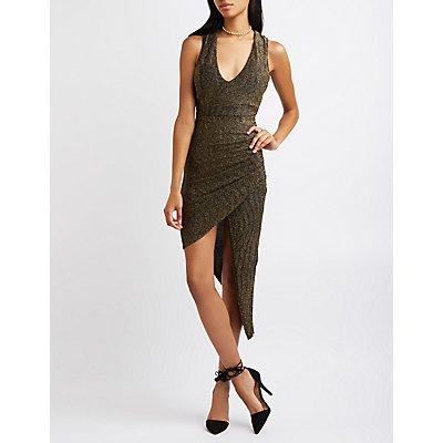 Metallic Knit Asymmetrical Bodycon Dress