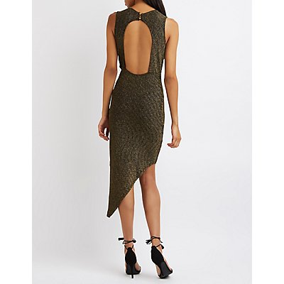 Metallic Knit Asymmetrical Bodycon Dress