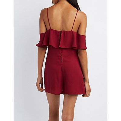 Tiered Cold Shoulder Romper
