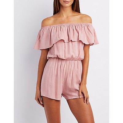Off-The-Shoulder Lace-Up Romper