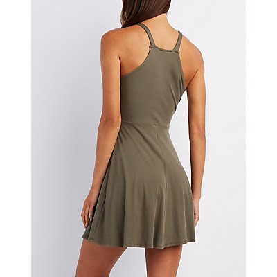 Ribbed Bib Neck Skater Dress
