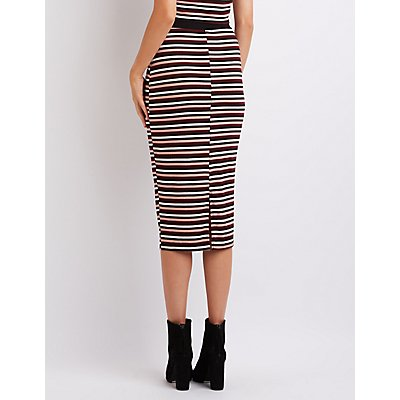 Striped & Ribbed Midi Skirt