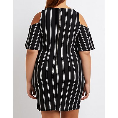 Plus Size Striped Cold Shoulder Dress