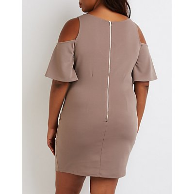 Plus Size Cold Shoulder Bodycon Dress