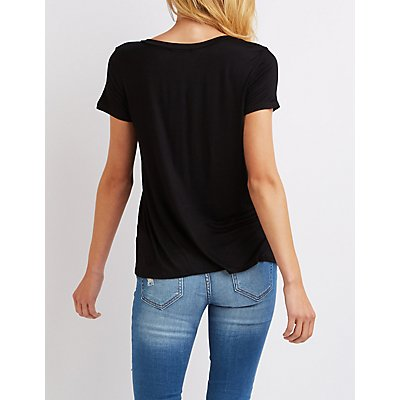 Caged V-Neck Patches Tee