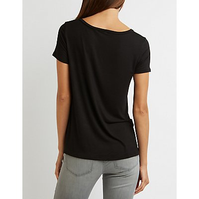 Patched V-Neck Tee