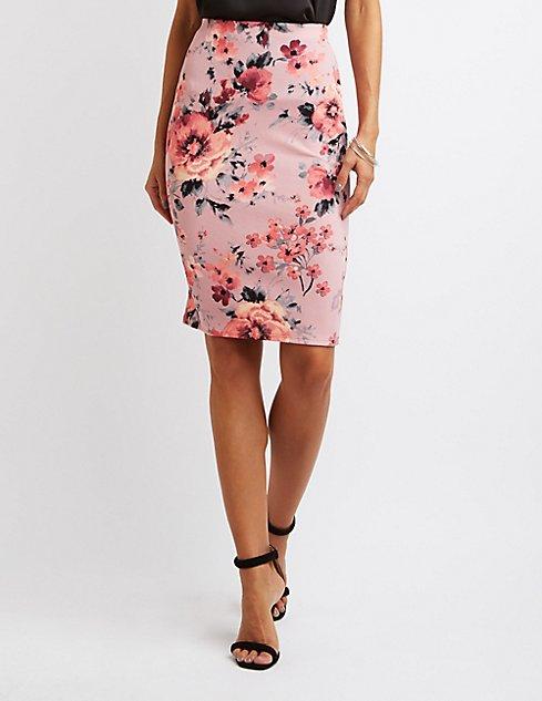 Floral Pencil Skirt | Charlotte Russe