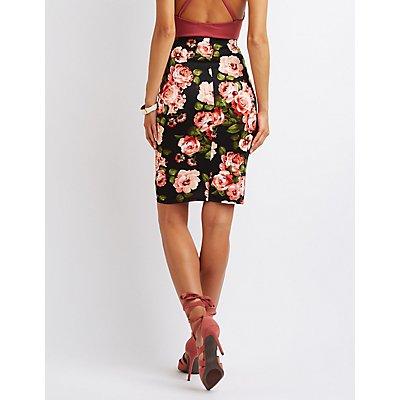 Floral Scuba Pencil Skirt