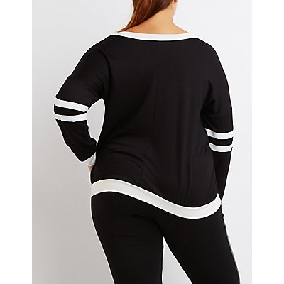 Plus Size Varsity Stripe Ringer Sweatshirt