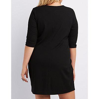 Plus Size Ribbed Lattice Bodycon Dress