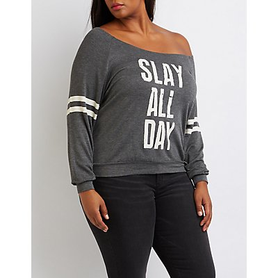 Plus Size Slay All Day Graphic Sweatshirt
