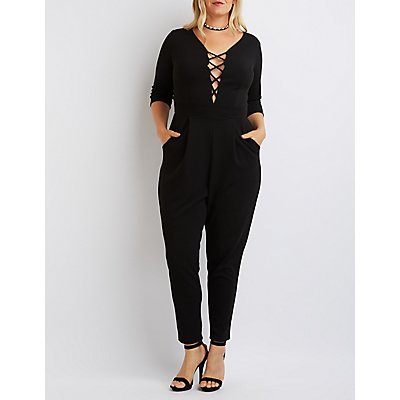 Plus Size Lattice-Front Jumpsuit