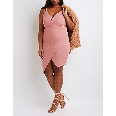 Plus Size Textured Asymmetrical Dress