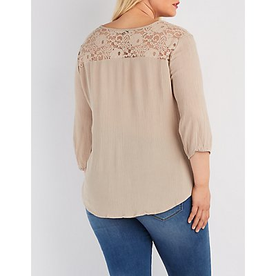 Plus Size Lace Yoke Gauze Top