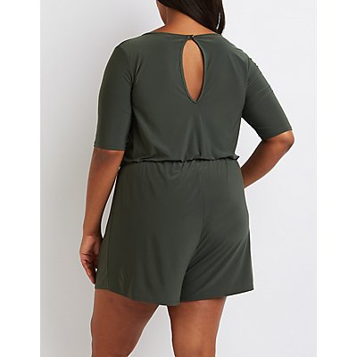 Plus Size Strappy Surplice Romper