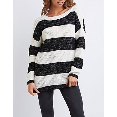 Striped Shaker Stitch Tunic Sweater