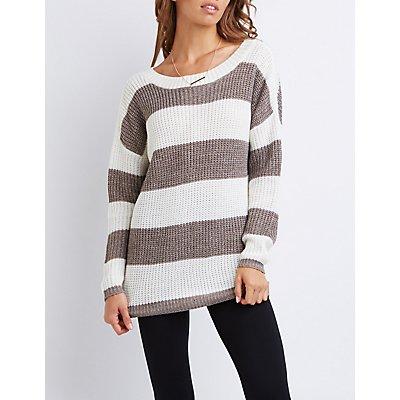 Striped Shaker Stitch Tunic Sweater