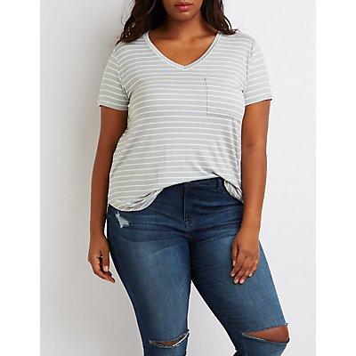 Plus Size Striped V-Neck Boyfriend Tee