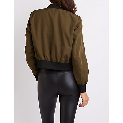 Cropped Zip-Up Bomber Jacket