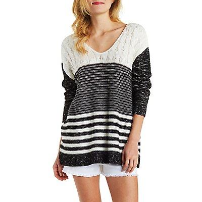 Multi-Stitch Scoop Neck Tunic Sweater