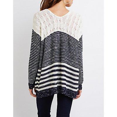 Striped V-Neck Tunic Sweater