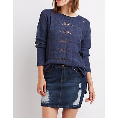 Pointelle Open Back Sweater