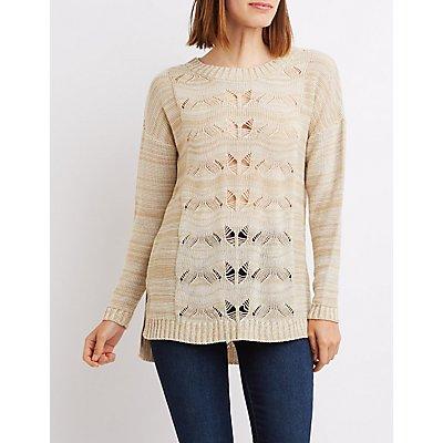 Pointelle Open Back Sweater