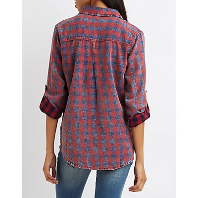 Stonewash Plaid Button-Up Shirt