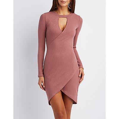 Ribbed Keyhole Wrap Dress