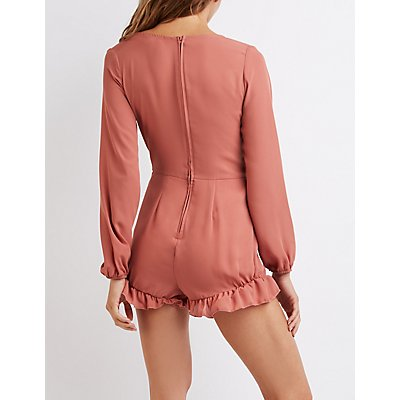Ruffle-Trim Button-Up Romper