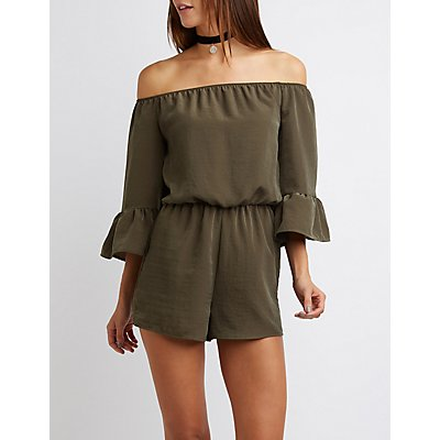 Off-The-Shoulder Bell Sleeve Romper