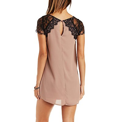 Lace & Chiffon Shift Dress