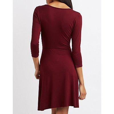 Surplice Neck Wrap Dress